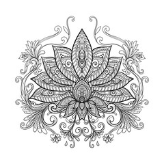 Vector ornamental Lotus flower, ethnic art, patterned Indian pai