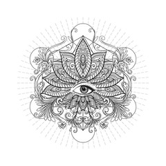 Vector ornamental Lotus flower, sacred geometry, eye. Hand drawn