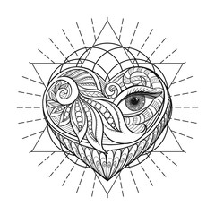 Vector ornamental Love Heart, sacred geometry, eye. Hand drawn i