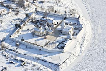 Russia, Staritskiy Holy Assumption Monastery.Winter landscape. Region of Tver.