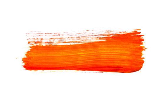 Oranger Pinselstrich isoliert auf weiß