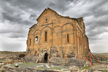 Exterior view of Cathedral of Ani, Armenian Cathedral in Ani.
