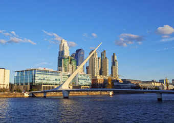 Argentina, Buenos Aires Province, City of Buenos Aires, View of Puente de la Mujer in Puerto Madero.