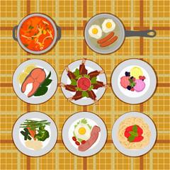 set various plates of food