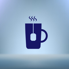 Flat paper cut style icon of hot tea cup