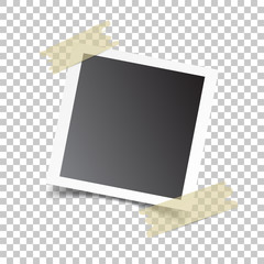 Photo frame with adhesive tape, on isolated background. For your photography and picture. Vector illustration