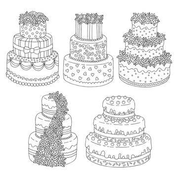 Hand drawn seamless pattern with triple birthday cakes. Vector illustration. Packing for a gift, template for greeting cards, banners, congratulations, advertising.