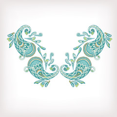 Neck line embroidery designs ornamented with Turkish paisley. St