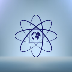 Flat paper cut style icon of science symbol
