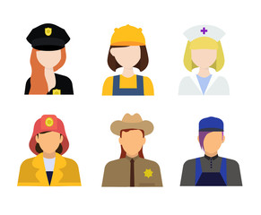 big set of different professions
