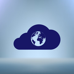 Flat paper cut style icon of cloud with globe inside