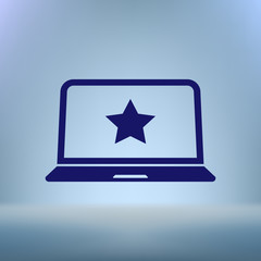 Flat paper cut style icon of laptop