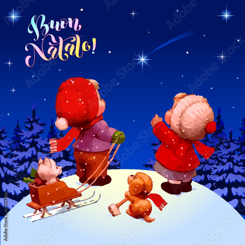 merry christmas buon natale congratulations in italian illustration children look at a - Merry Christmas Italian