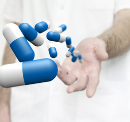 Medicine capsules are float above a doctor's hand. 3D illustration.
