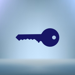 Flat paper cut style icon of an old key