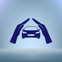 car insurance icon, on white background
