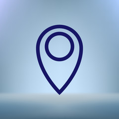 Flat paper cut style icon of map pointer