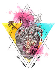 Illustration mechanical heart.