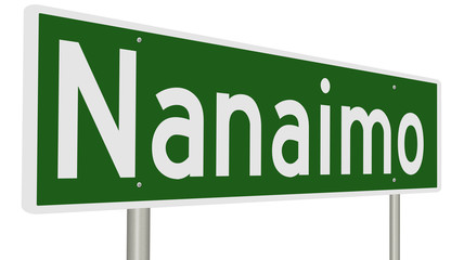 A 3d rendering of a green highway sign for Nanaimo, British Columbia, Canada