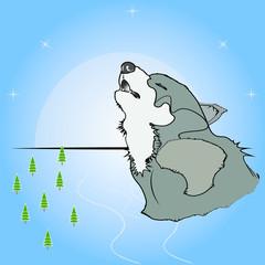 Волк воет на луну в тайге