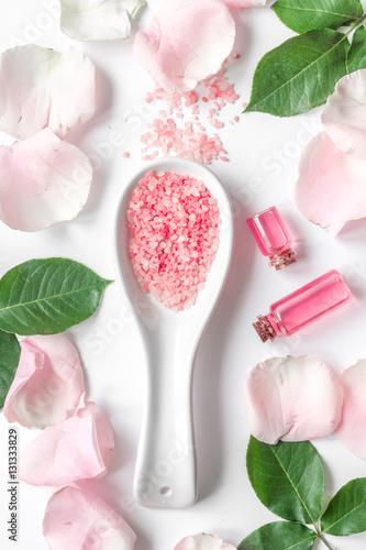 Organic cosmetic with rose oil on white background top view quot stock