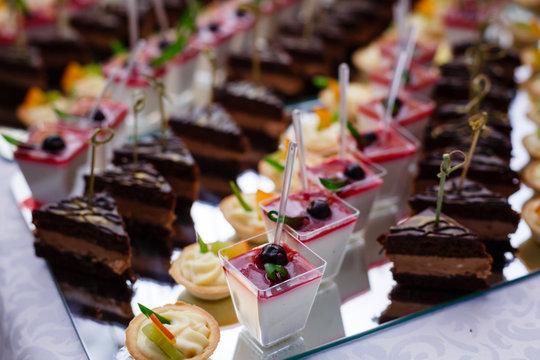 buffet table food