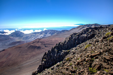 National park Haleakala on Maui, Hawaii.  Scenic travel destination location.  Beautiful views of a dormant volcano