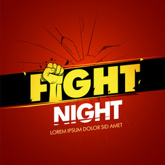 Fight nigh red version advertisement sport template. Modern professional fighting poster template logo design with fist. Isolated fight logotype vector illustration.