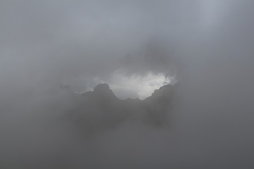 Thick fog in the mountains.