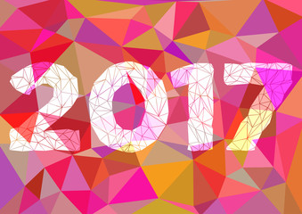 Abstract polygonal background with triangular ornament in pink and year 2017 for binding or fliers. Christmas and New Year 2017. Vector illustration