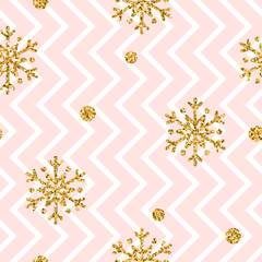 Christmas gold snowflake seamless pattern. Golden glitter snowflakes on pink and white zig zag background. Winter snow design wallpaper. Symbol holiday, New Year celebration Vector illustration