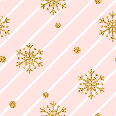 Christmas gold snowflake seamless pattern. Golden glitter snowflakes on pink white diagonal lines background. Winter snow texture wallpaper. Symbol holiday, New Year celebration Vector illustration