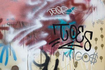 Close up of graffiti on a metallic fence