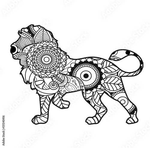 Vector Illustration Of Black And White Lion Mandala For Coloring Book Leone In Bianco