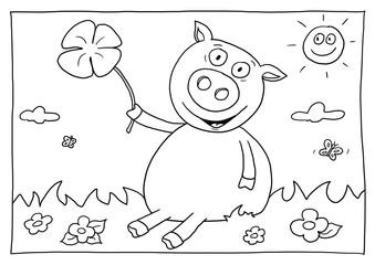Ausmalbild Glücksschwein