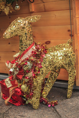 gold deer the Christmas Decorations