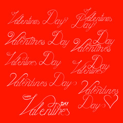 Valentine day hand lettering set, handmade ink calligraphy scalable and editable vector illustration
