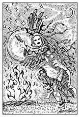 Shaman with drum. Engraved fantasy illustration