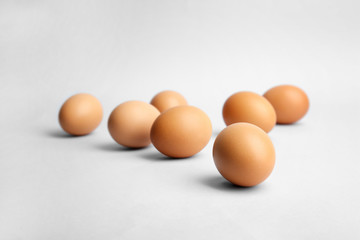 Group of eggs on light background