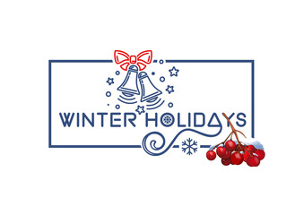Winter holidays. Christmas logo design with rowan branch and holiday bells in blue frame on white background.  Lettering card. Vector illustration