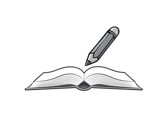 Pencil and open book on white background. Cartoon in doodle style. Back to school concept education.