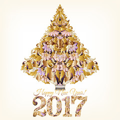 Decorative gold Christmas tree with floral ornament and figures