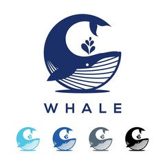 Simple Whale Logo Design Circular