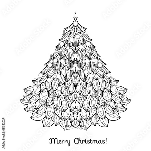 Christmas Tree Outline Drawing Coloring Page Book For