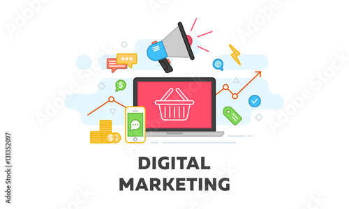 Digital Marketing And Social Media Vector Flat