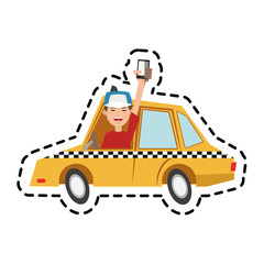 Taxi icon. Car transport vehicle and cab theme. Isolated design. Vector illustration