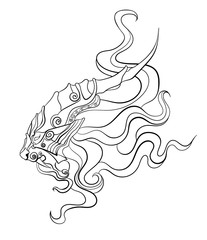lion drawn in the Chinese style