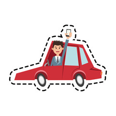 Man car and smartphone icon. Travel navigation route and technology theme. Isolated design. Vector illustration