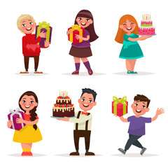 Surprise for children. Boys and girls with gifts and birthday ca