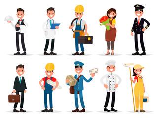 Set professions: waiter, doctor,  electrician, florist, pilot, b